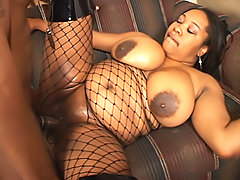Black BBWs shaved pussy is banged hard